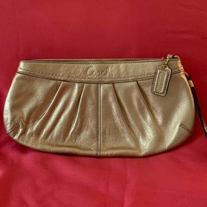 NWOT Coach Metallic Gold Leather Pleated Clutch